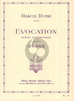 Dupre Evocation Opus 37 pour Orgue