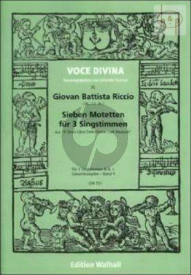 7 Motetten (aus Il Terzo Libro delle Divine Lodi Musicali) (3 Voices-Bc)