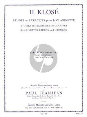 Klose Exercises Journaliers pour Clarinette (Paul JeanJean)