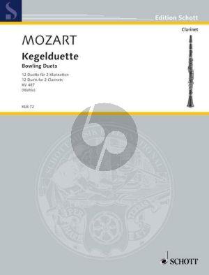 Mozart Kegelduette (12) KV 487 2 Klarinetten (edited by Reiner Wehle) (Score)