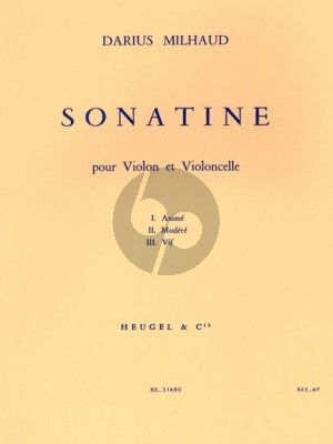 Milhaud Sonatine Opus 324 Violon et Violoncelle
