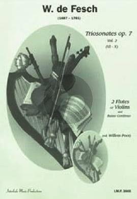 Fesch Triosonatas Op. 7 Vol. 2 2 Flutes [Violins] and Bc (Score/Parts)