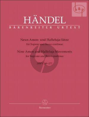 9 Amen and Halleluja Movements HWV 269 - 277 (Soprano-Bc) (lat.)