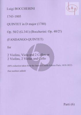 Quintet D-major Op.50 No.2 (Boccherini: Op.40 No.2) G.341 (Fandango-Quintet)