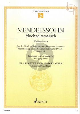 Hochzeitsmarsch (Sommernachtstraum) Op.61 No.9 Clarinet in Bb and Piano