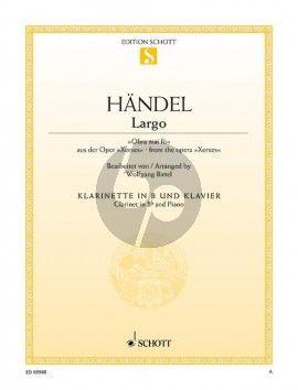 Largo (Ombra mai fu) (Xerxes) for Clarinet Bb and Piano