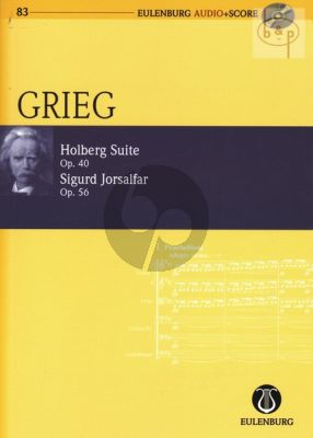 Holberg Suite Op.40 with Sigurd Jorsalfar Op.56 (Study Score with Audio CD)