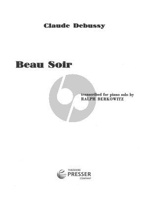Debussy Beau Soir piano solo