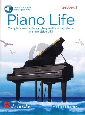 Merkies Piano Life Lesboek 2 Boek met Audio Online (Complete methode voor lespraktijk of zelfstudie in eigentijdse stijl) (Demo and Play-along)