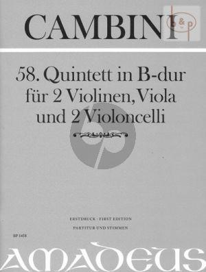 Quintet No.58 B-flat major (2 Vi.- 2 Va.-Vc.) (Score/Parts)