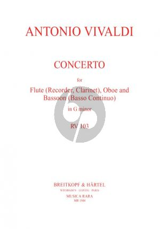 Vivaldi Concerto G-minor RV 103 (P.402) (Flute[Clar./Treble Rec.]-Oboe-Bassoon[Bc ad lib.]) (Score/Parts) (edited by Robert Paul Block and David Lasocki)
