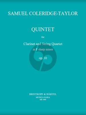 Coleridge-Talor Quintet F-sharp minor Op.10 Clarinet in A and Strings Set of Parts