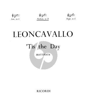 Leoncavallo Tis the Day - La Mattina Medoim Voice (in D) and Piano (English-Italian)