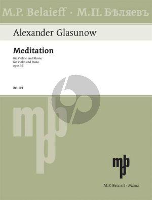 Glazunov Meditation Op.32 D-major Violin-Piano