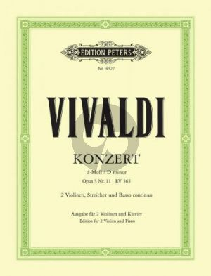 Vivaldi Concerto d-minor Op.3 No.11 (RV 565) 2 Violins-Strings-Bc (piano red.) (edited by Paul Klengel)