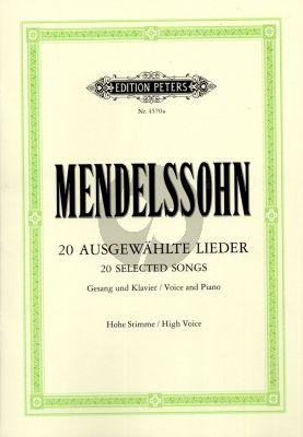 Mendelssohn Ausgewahlte Lieder Hohe Stimme mit Klavier (Herausgegeben von Paul Losse)