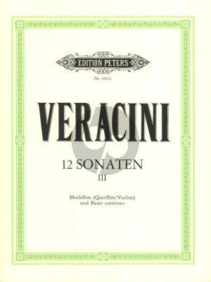 Veracini 12 Sonaten Vol.3 (No.7-9) Alblockflote [Flote/Violine] und Bc (Herausgegeben von Walter Kolneder)