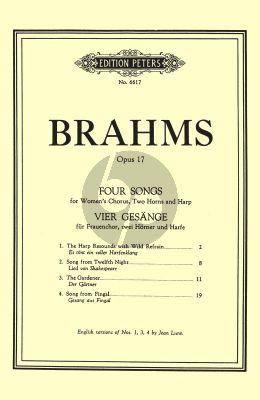 Brahms 4 Lieder Op.17 Female Choir- 2 Horns-Harp (Score) (English/German) (Peters)