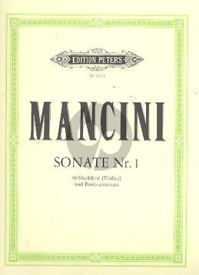Mancini Sonate No. 1 d-moll Altblockflöte (Flöte /Violine) und Bc (Walter Bergmann)