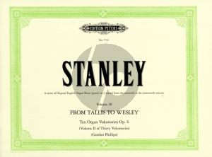 Stanley 10 Voluntaries Op. 6 Organ (Tallis to Wesley - Vol. 28)