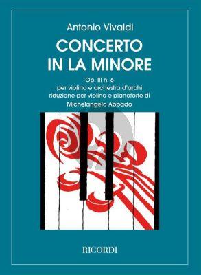 Vivaldi Concerto a-minor RV 356 (Op.3 No.6) Violin and Piano (Michelangelo Abbado)