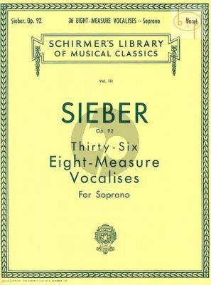 36 Eight-Measure Vocalises Opus 92 Soprano