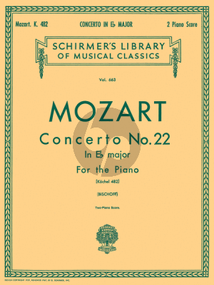 Concerto No.22 E-flat Major KV 482 Reduction 2 Pianos Edited by E Bischoff