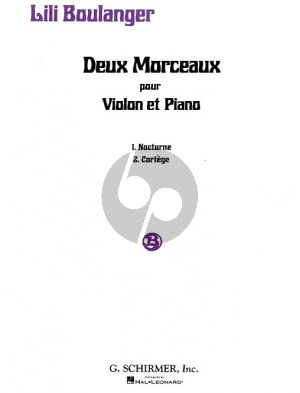 Boulanger 2 Morceaux - Nocturne and Cortege Violin and Piano