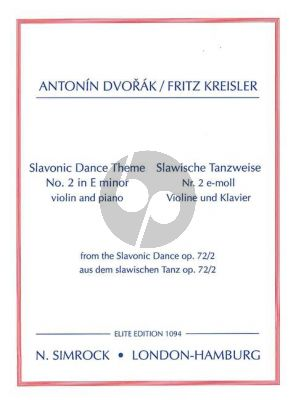 Dvorak Slavonic Dance Op.72 No.2 e-minor Violin and Piano (Fritz Kreisler)