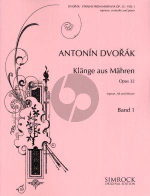 Dvorak Strains of Moravia (Klange aus Mahren) Op.32 Vol.1 for 2 voices-piano (Deutsch/Englisch/Tsjechisch)