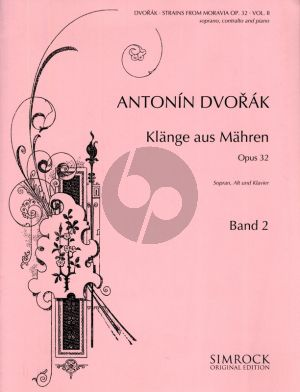 Dvorak Strains of Moravia (Klange aus Mahren) Op.32 Vol.2 for 2 Voices-Piano (Deutsch/Englisch/Tsjechisch)