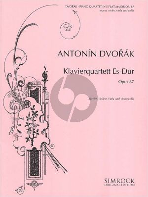 Dvorak Quartet E-flat major Op.87 Piano-Violin-Viola-Violoncello (Score/Parts)