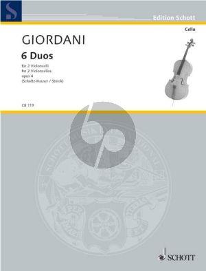 Giordani 6 Duos Op. 4 2 Violoncellos (Schultz-Hauser-Storck)