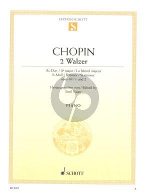 Chopin 2 Walzer Op.69 No.1 - 2 h-moll/As-dur (Les Adieux) Klavier (Herausgegeben von Emil Sauer)