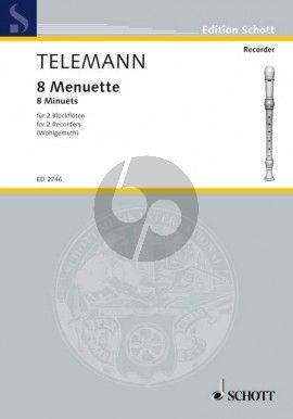 Telemann Menuette fur Sopran- und Altblockflote (Spielpartitur) (Herausgeber Gerhard Wohlgemuth)