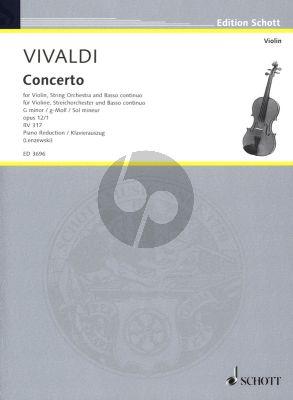 Vivaldi Concerto g-moll Op.12 No.1 RV 317 for Violin and Bc {Piano] (edited by Gustav Lenzewski)