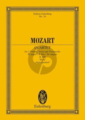 """Mozart Quartet B-flat major KV 458 """"The Hunt"""" 2 Vi.-Va.-Vc.) Study Score"""