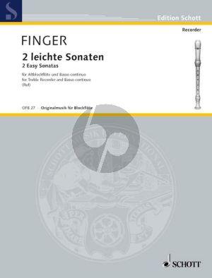 Finger 2 leichte Sonaten Altblockflöte (Flöte / Oboe / Violine) und Bc (Hugo Ruf)