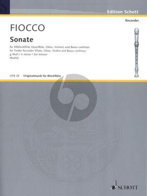 Fiocco Sonata g-minor Treble Recorder and Bc (edited by M.Ruetz) (Grade 3)