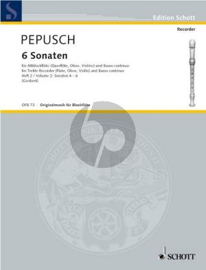 Pepusch 6 Sonaten Vol.2 (Nos.4-6) Treble Rec.[Fl./Ob,/Vi.]-Bc (Giesbert)