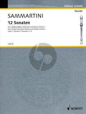 Sammartini 12 Sonatas Vol.1 (Nos.1 - 4) (2 Treble Rec.[Vi.]- Bc.) Score and Parts (edited by F.J.Giesbert)