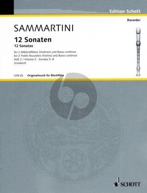 Sammartini 12 Sonatas Vol.2 (Nos.5 - 8) (2 Treble Rec.[Vi.]- Bc.) Score and Parts (edited by F.J.Giesbert)