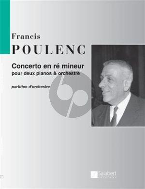 Poulenc Concerto En Re Mineur Pour 2 Pianos Et Orchestre Partition