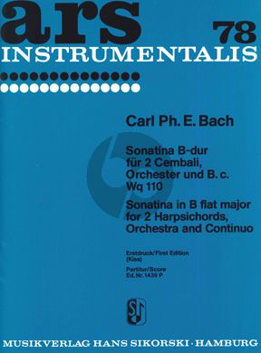 Bach Sonatine B-dur 2 Cembali-Orchester-Bc Partitur (Georges Kiss)