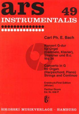 Bach Konzert G-dur WQ 34 Orgel[Cembalo]-Streicher-Bc Partitur (Helmut Winter)