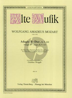 Mozart Adagio B-flat major KV 411 Flute-Oboe-Clar.-Horn-Bassoon (Parts) (Weigelt)