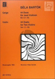 Bartok 44 Duette Vol.1 2 Violins