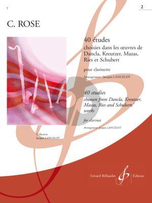 Rose 40 Etudes Choisies dans les oeuvres de Dancla, Kreutzer Mazas, Ries et Schubert Vol.2 (Lancelot)