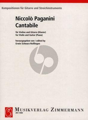 Paganini Cantabile fur Violine und Gitarre oder Klavier (Herausgegeben von Schwarz-Reiflingen)