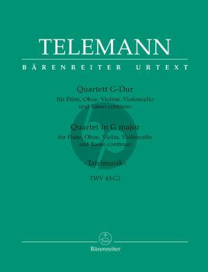 Telemann Quartet G-major TWV 43:G2 (Tafelmusik 1) (Fl.-Ob.-Vi.-Vc.-Bc) (Score/Parts)